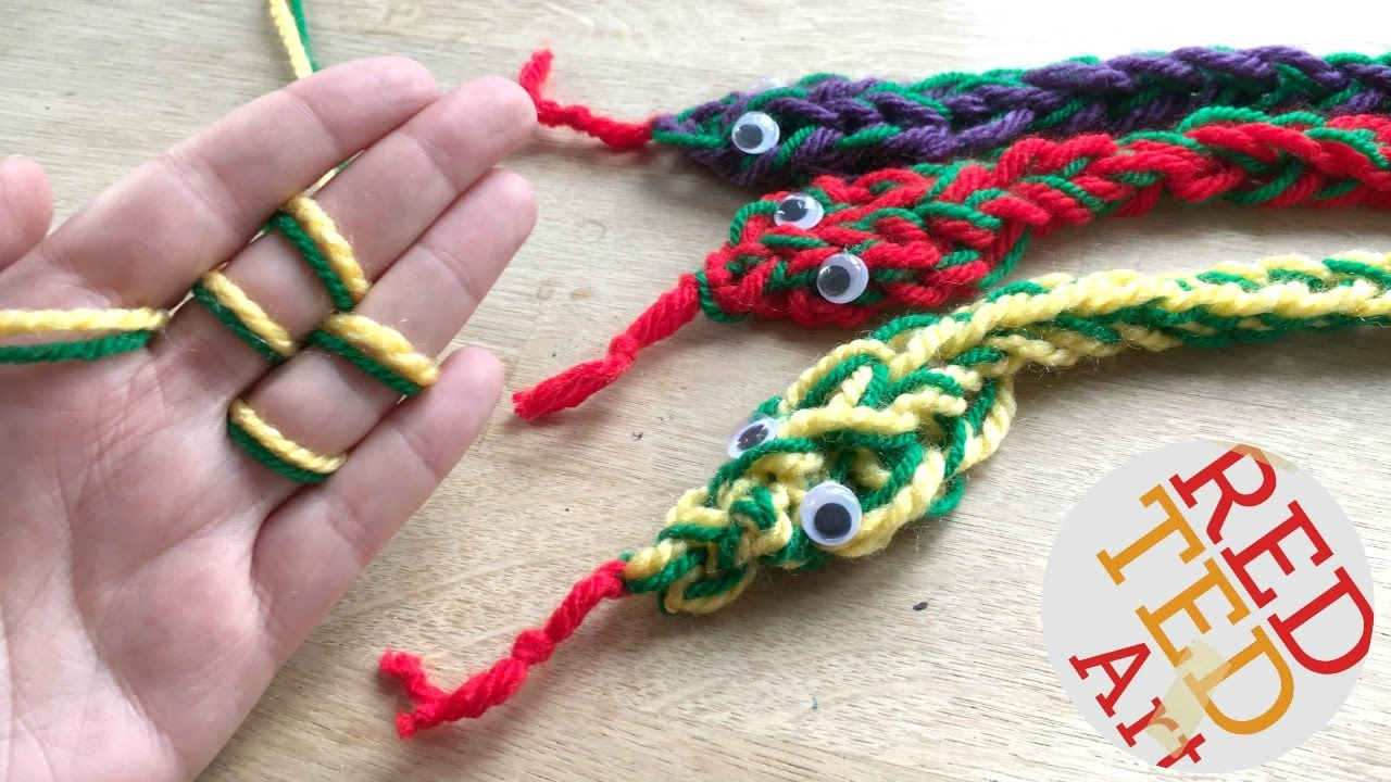 Finger Knitting how to finger knit a snake diy - finger knitting projects - no plyqdxf