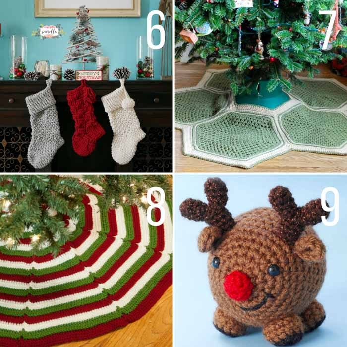 free christmas crochet patterns including a modern crochet stocking,  christmas tree skirts ettwwnr