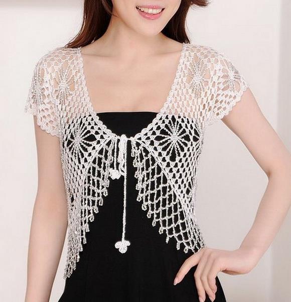 free crochet bolero pattern - crochet with crystal beads kyirqme