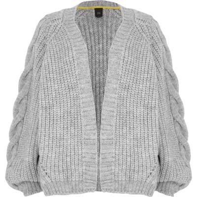 grey chunky cable knit cardigan ybblunj