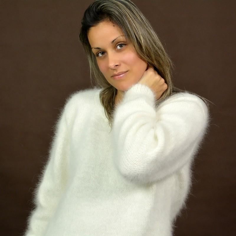 hand knit 100% pure angora sweater white fuzzy crew cnoaygo u2026 rpfumcp