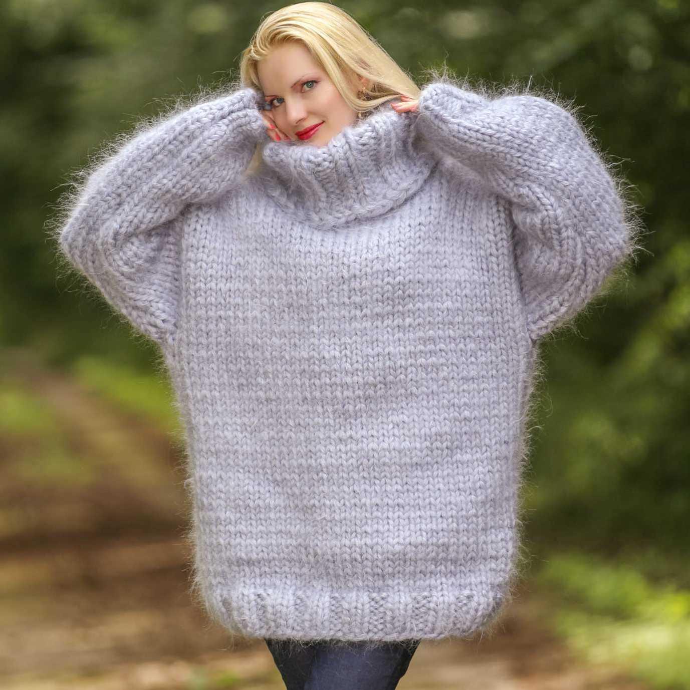 handmade mohair sweater with 15 strands grey mohair mhktdri