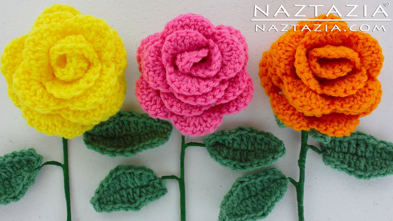 How To Crochet Easy diy learn how to crochet a beginner easy flower - rose rosas bouquet htcfqer