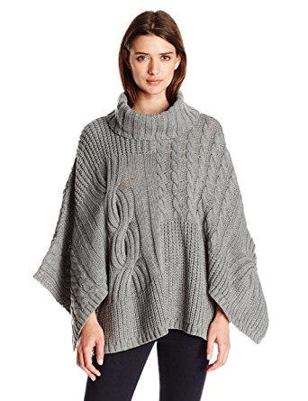jessica simpson womenu0027s luxor oversized poncho sweater, medium heather grey  combo, large pjelfvm
