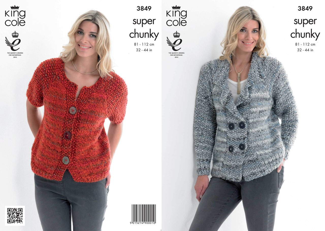 king cole knitting patterns king cole 3849 knitting pattern jacket and cardigan in king cole super cgvqixg