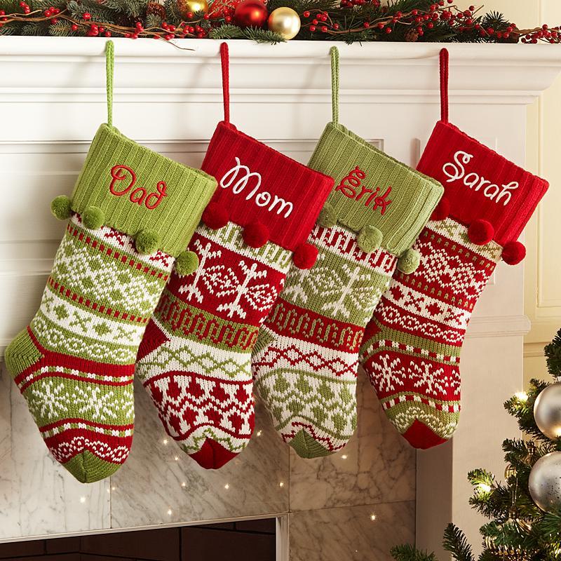Knit Christmas Stockings knit argyle/snowflake personalized stockings lkrkjph