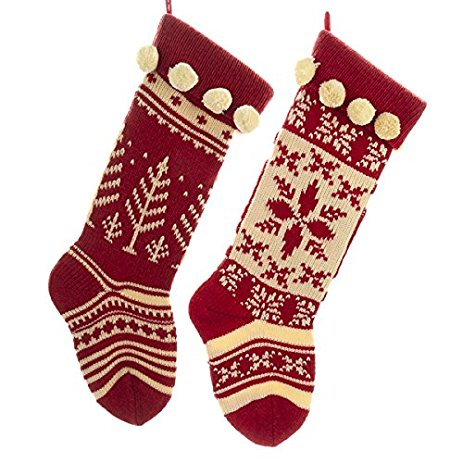 Knit Christmas Stockings kurt adler red and cream knit stockings 2 assorted ssdwmbt