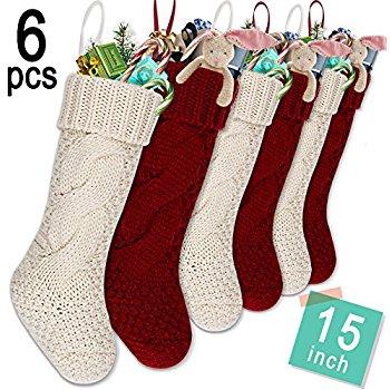 Knit Christmas Stockings limbridge set of 6 knitted christmas stockings, heavy knit elastic stocking  15 ixsfmhl