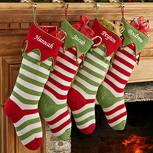 Knit Christmas Stockings personalized knit christmas stockings - seasonal stripes - 9785 ilbzsnw