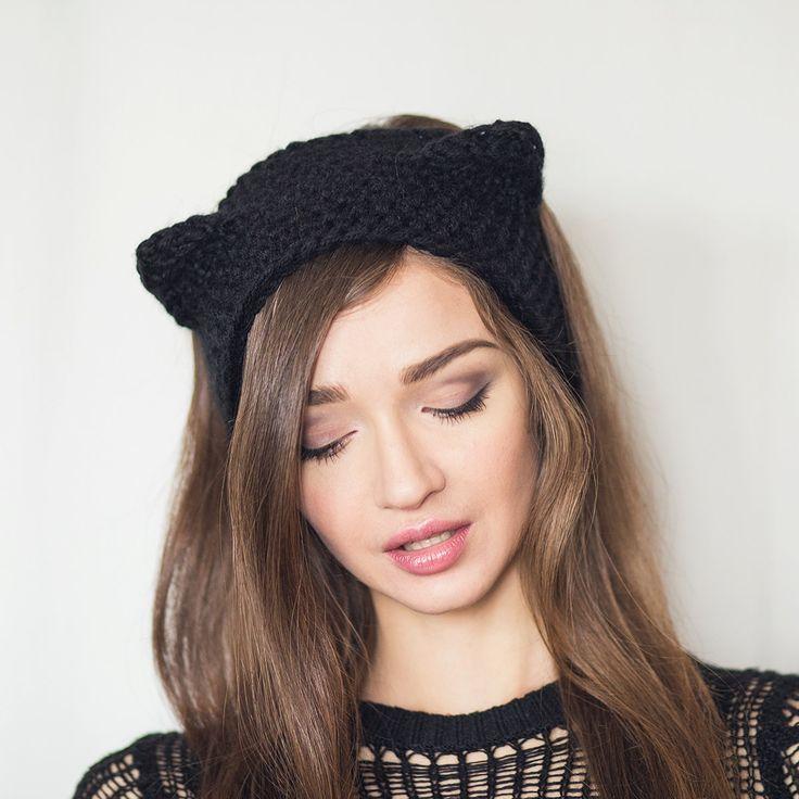 knit headband black cat. fall/winter womens ear-warmer. grey/ black tkbucsx