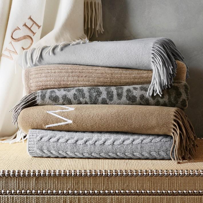 knit stripe cashmere throw, oatmeal   williams sonoma tgtsmyi