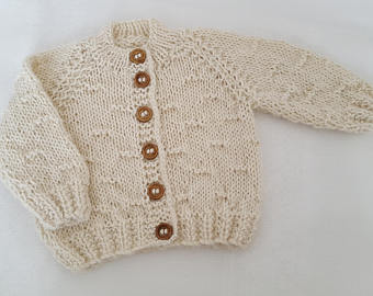 knitted baby clothes - baby gift - hand knitted alpaca baby cardigan - iysqlaf