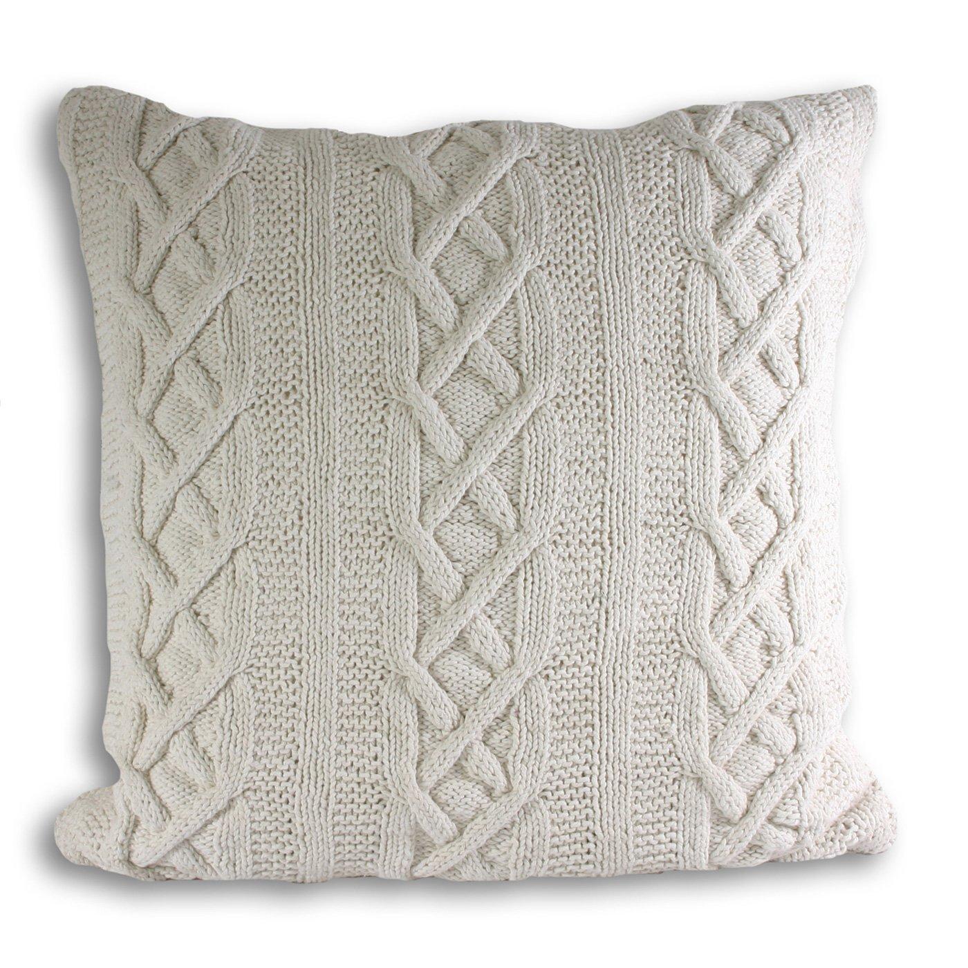 knitted cushions aran knitted cushion cover, mushroom, 55 x 55 cm: amazon.co.uk: kitchen u0026 znnonwn