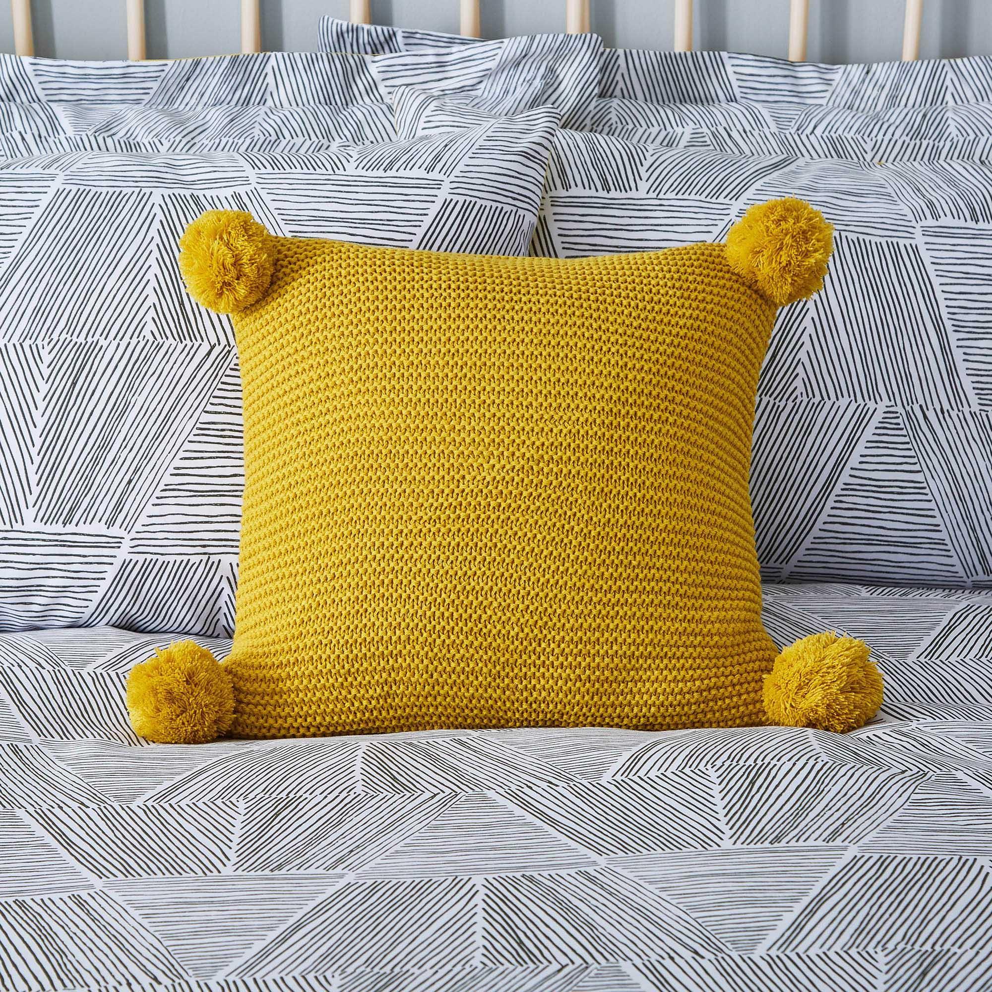 knitted cushions pom pom ochre knit cushion vvnvwul