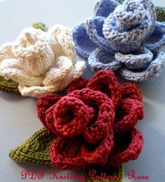 knitted flowers pdf knit flower pattern - rose knit flower mlhgofq