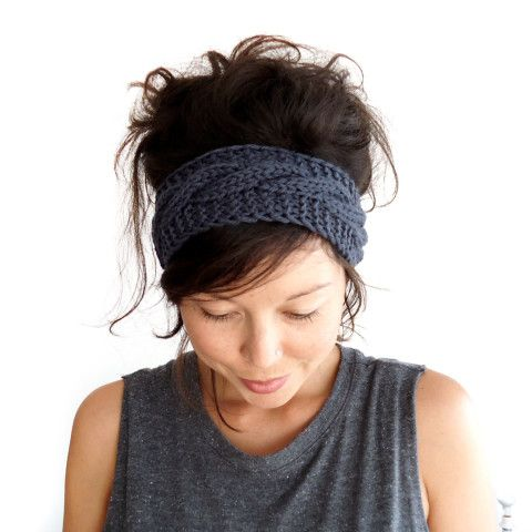 knitted headband cable knit headband in charcoal grey 100 merino wool by chichidee, yyhcrqf