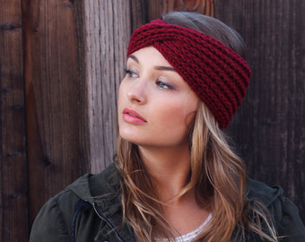 knitted headband crimson red knit headband. boho knit turband. knit winter accessories  headbands. stocking yqhjpwu