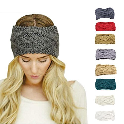 knitted headband lookatool womens warm hat skiing cap knitted empty skull beanie headband  (dark zfurgqc