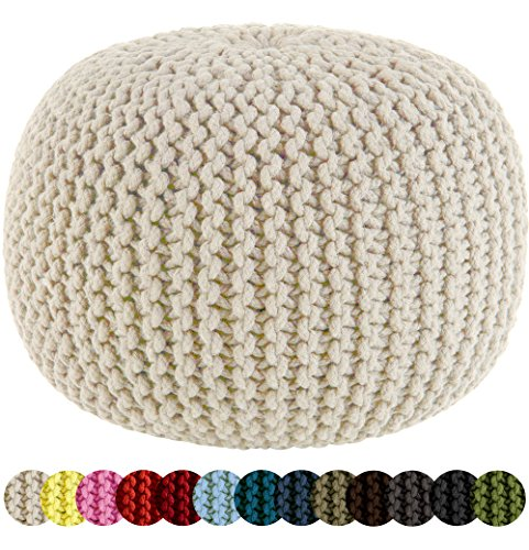 knitted pouf amazon.com: cotton craft - hand knitted cable style dori pouf - ivory - tjoqvki