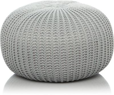 knitted pouf fine knitted pouffe - grey ocsjbwk