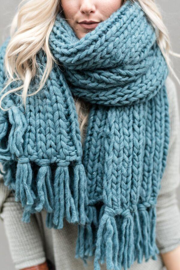 knitted scarves desert cozy tassel chunky knitted scarf - teal wpmzifo