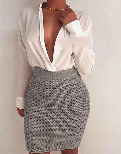 knitted skirt - beige u0026 grey - awesome world - online store udiuoeu