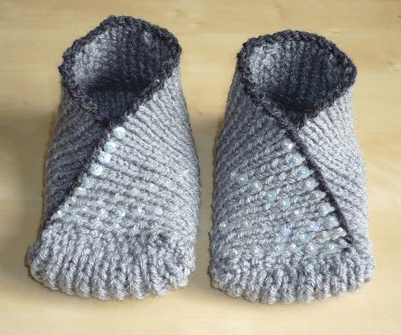 knitted slippers hand knit slippers socks - kimono slipper socks in grey, green - spring qyfydvt