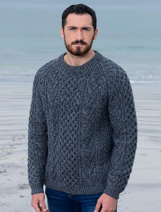 knitted sweaters mens handknit honeycomb stitch sweater - charcoal iiamsjq