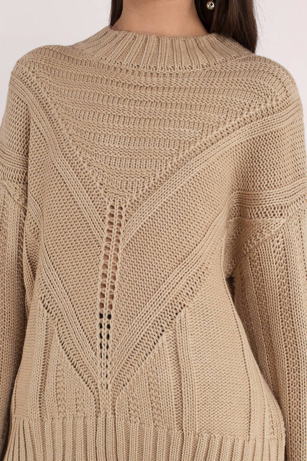 knitted sweaters ... moon river moon river easy days taupe knitted sweater ... xhfiqkl