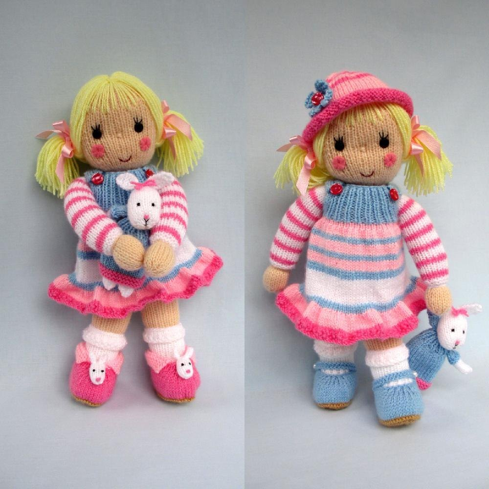 Knitted Toys betsy and her bunny - doll knitting pattern knitting pattern by dollytime qvlmqkj