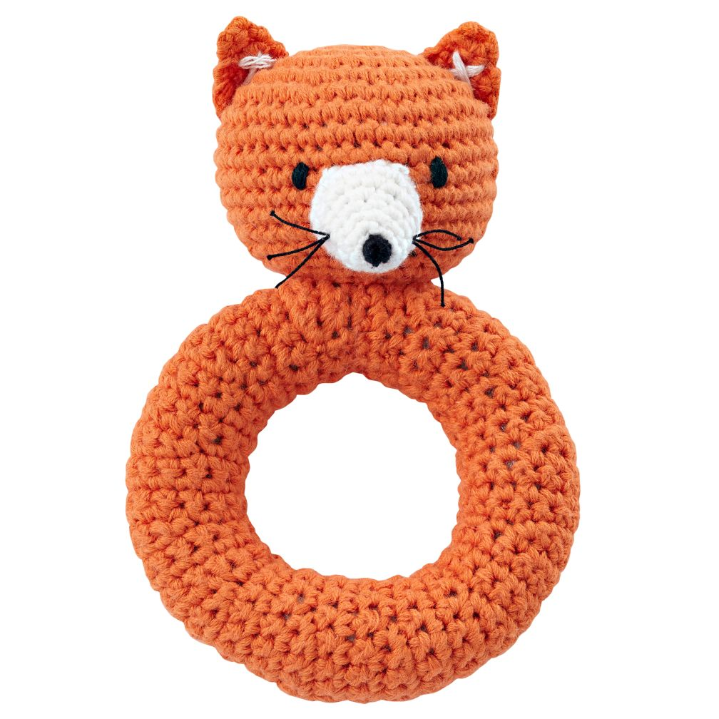 knitted toys fox animal knit rattle   the land of nod njzuajy