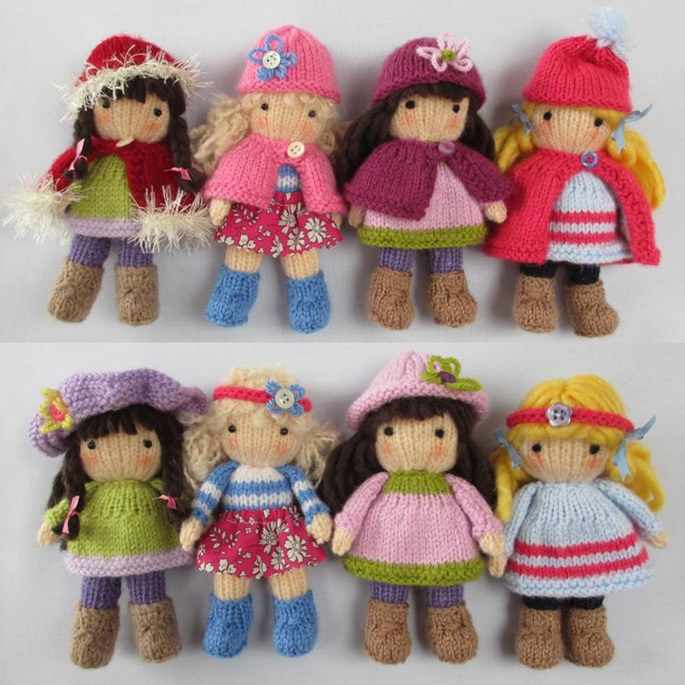 knitted toys little belles - small knitted dolls knitting pattern by dollytime   knitting enxaqla