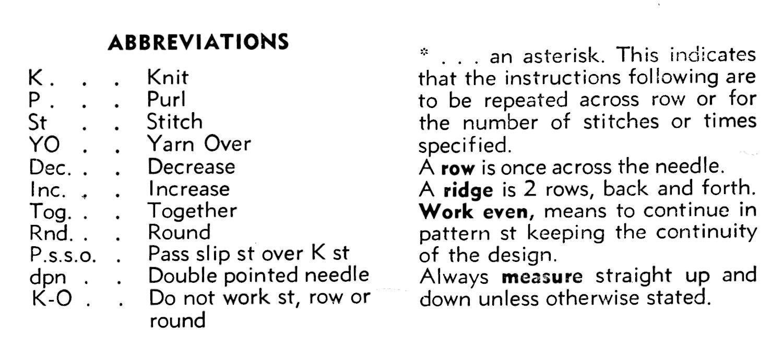 Knitting Abbreviations knitting abbreviations vintage stole knitting pattern kakwowy