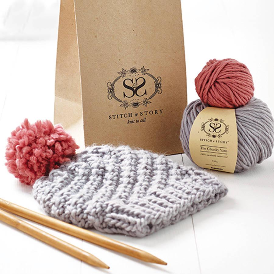 Knitting kits beginneru0027s pom pom hat knitting kit tvmcgup