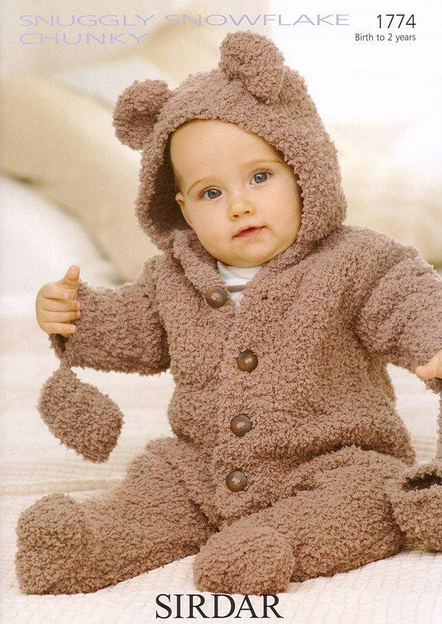knitting patterns for babies all-in-one and mittens in sirdar snuggly snowflake chunky (1774)- olndtbm