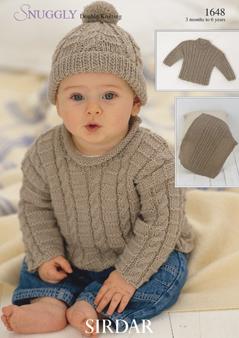 knitting patterns for babies sirdar snuggly dk - 1648 sweaters, hat u0026 blanket knitting pattern . ftkyhxp