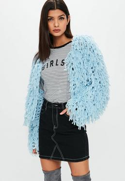 knitwear premium pastel blue shaggy cropped cardigan gkfljor