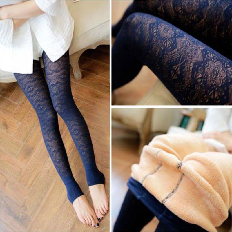 lace leggings for women women fashion sexy lace leggings pants winter thick fleece lined warm wugnasc