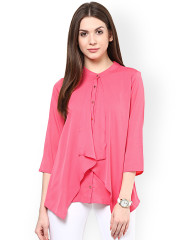Ladies tops rare pink georgette layered top with cut-out detail dhmoklu