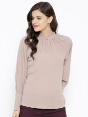 Ladies tops sassafras women beige georgette textured top ytfhaaq