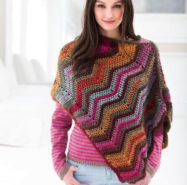 lion brand patterns kit. sunset poncho crochet kit. by lion brand ncjkpvq