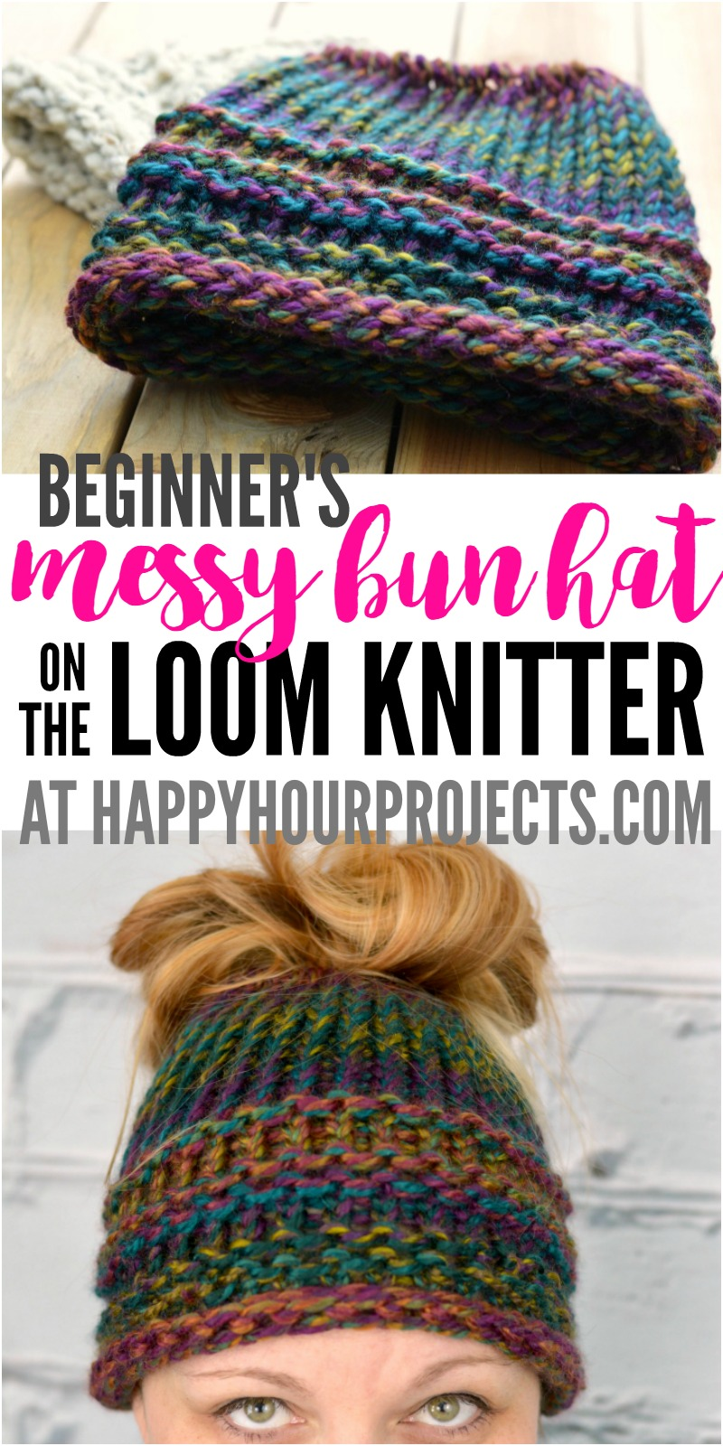 loom knitting patterns beginners messy bun hat using the loom knitter at happyhourprojects.com    2-hour alfpjcd