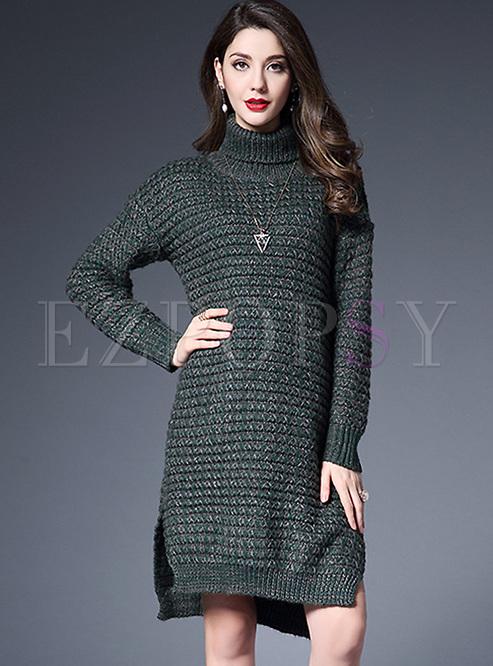 loose split-side turtle neck loose knitted dress lntimym