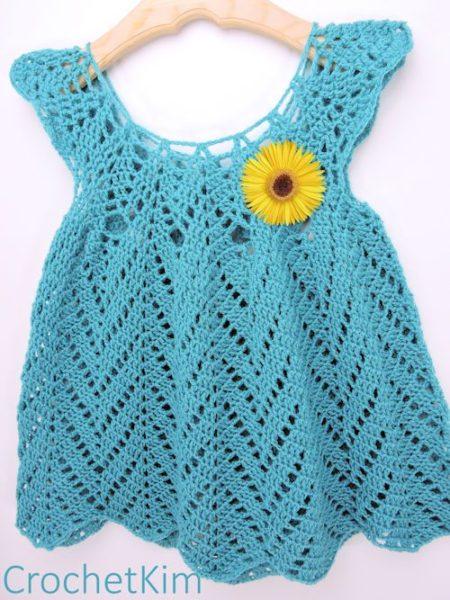 lovely tulip chevrons crochet baby dress crochet pattern - kim guzman - scwhniz