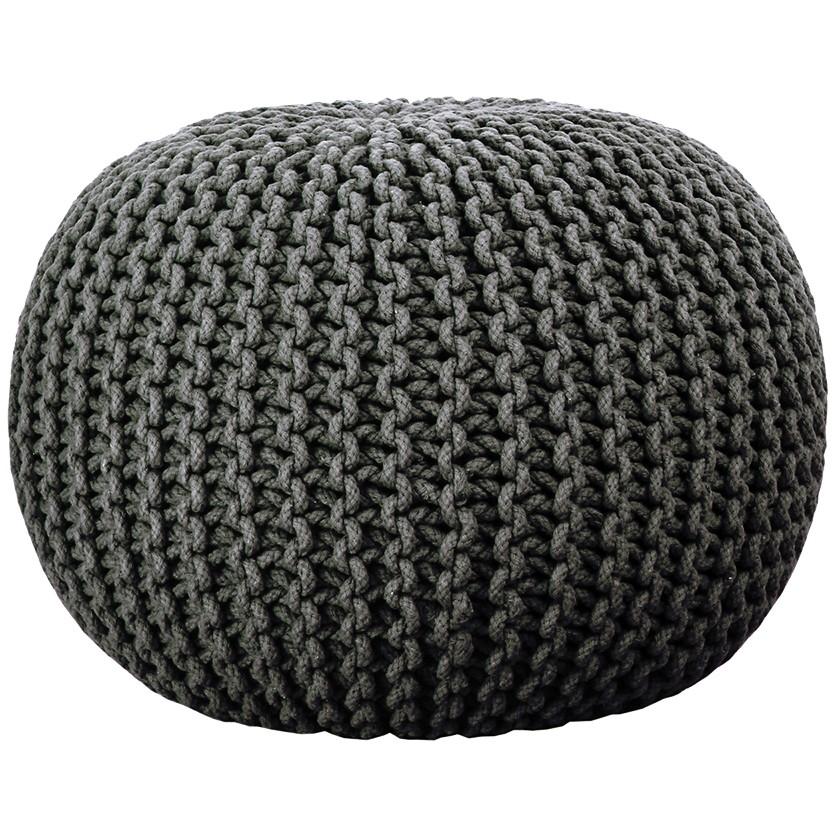 majestik knitted pouf - charcoal jdmztpy