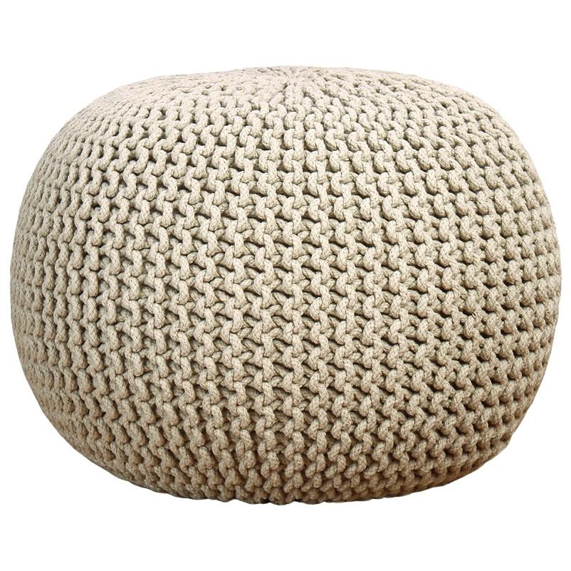 majestik knitted pouf (ecru) dzfbdoa