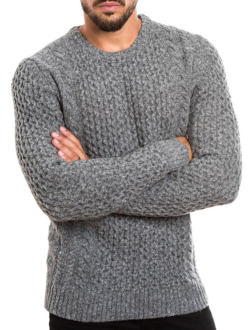 menu0027s clothing | cable knit sweater in grey | grey marl | melange aflbjlv