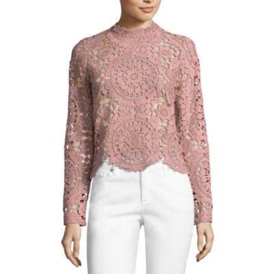 miss chievous long sleeve high neck crochet blouse-juniors vztwjfd