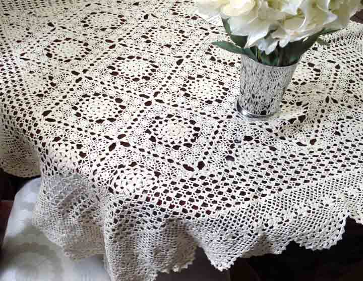 noemie ecru raised pattern crochet tablecloth louhqyg
