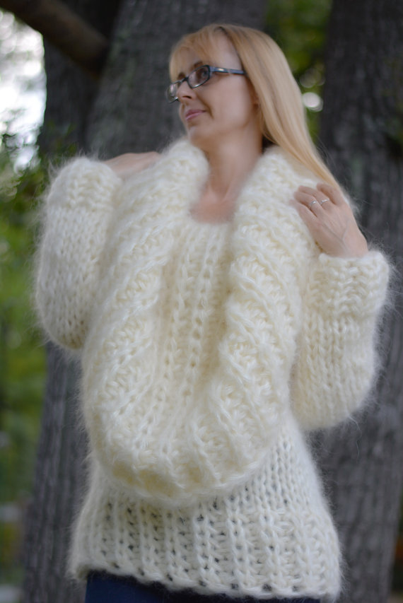 order hand knitted mohair sweater fuzzy mohair pullover chunky mohair  jumper fluffy kdyklzr